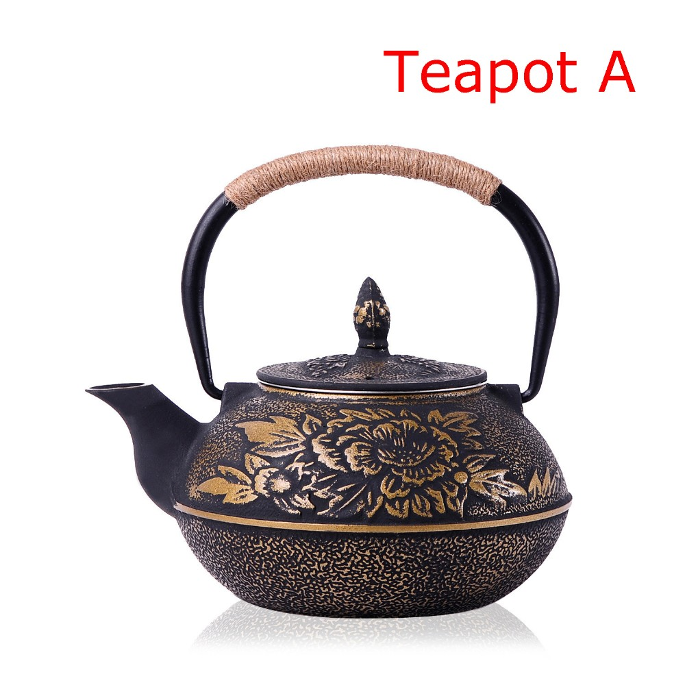 New 7 Chioces Cast Iron Teapot Set Japanese Tea Pot Tetsubin Kettle Enamel 900ml Kung Fu Infusers Metal Net Filter Cooking Tools 2
