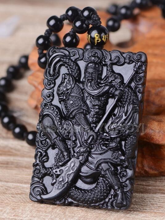 Obsidian Elephant Pendant Necklace Unisex Chinese Fashion Rope Ornaments