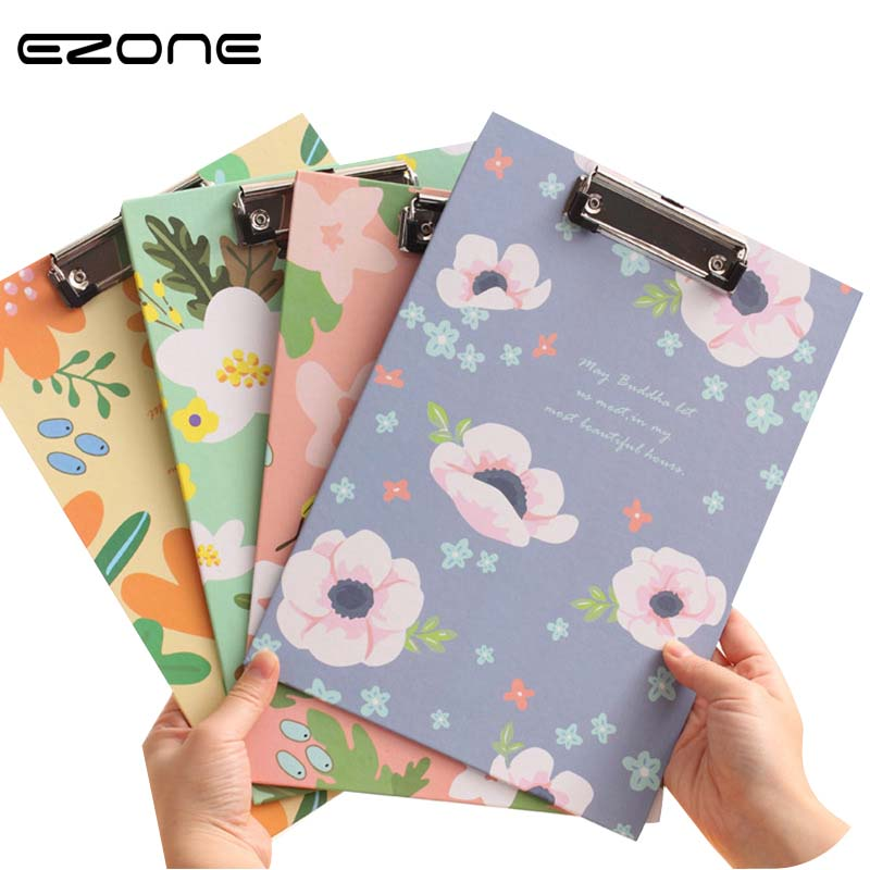 EZONE 1PC A4 Size Lovely Floral Folder Creative Colorful Document Board Clip Office School Supplies Student Gifts Stationery EZONE 1PC A4 Size Lovely Floral Folder Creative Colorful Document Board Clip Office School Supplies Student Gifts Stationery