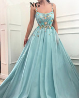 Turquoise Muslim Evening Dresses 2018 A line Spaghetti Strap Pearls Flowers Islamic Dubai Saudi Arabic Long Formal Evening Gown