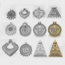 2pcs Ethnic Large Pendant Jewelry Embossed Flower Boho Bohemia Necklace Connector For Tassel Findings