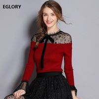 High Quality Jumpers 2018 Autumn Winter Casual Knitwear Women Sexy Sheer Polka Dot Print Patchwork Flare Sleeve Knitted Pullover
