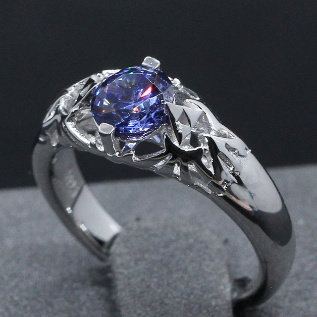14K 585 White Gold 0.8CT Round Cut Natural Sapphire Solitaire Engagement Ring