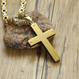 """Image 5 - """"พ่อของเรา"""" Stylish Crossจี้สร้อยคอผู้ชายสแตนเลสสตีลหนักByzantine Chainคริสเตียนชาย24 """"นิ้ว"""