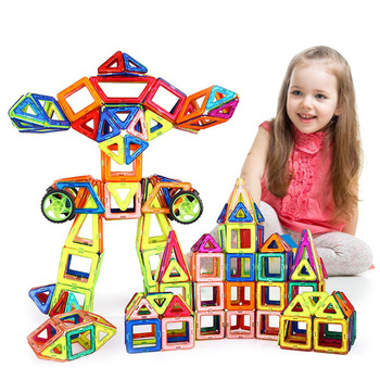 62Pcs/Lot Magnetic Designer Building Blocks 3D DIY Plastic Creative Models Bricks Learning Educational Toy Animal Blocks