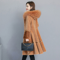 HANZANGL 2018 Winter Wool Coat Women's plus size hooded fox fur Thick Warm Fur Coats Skirt type Hem jacket overcoat M~4XL