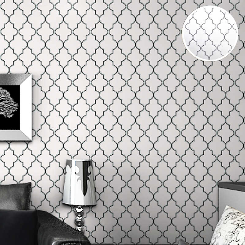 Diamond Print Moroccan Lattice Modern Trellis Wallpaper Contemporary Geometric Wall Paper For Kids