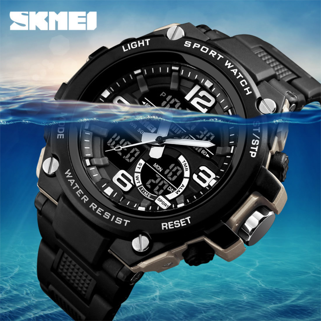 Men Sports Watches Digital Wristwatches LED 50M Waterproof Military Army Watch Resistant Relogio Masculino For Mens Quartz Watch in Sports Watches from Watches