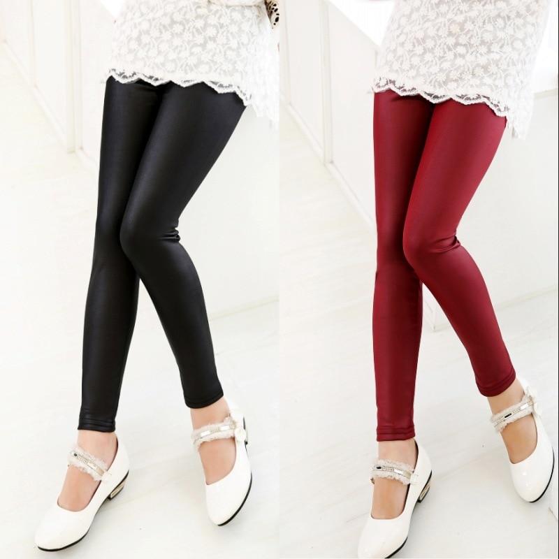 3e75768ab8339 2019 spring baby girls thin faux leather leggings for children black navy  blue red kids imitation