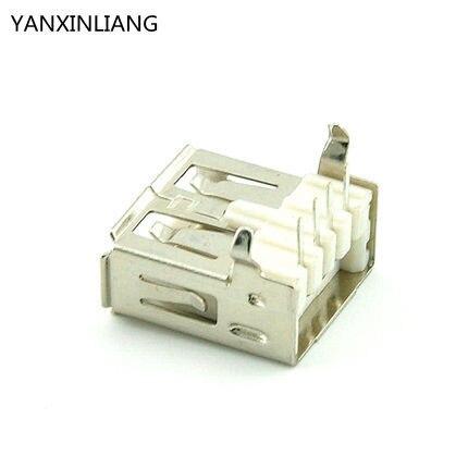 50Pcs/lot USB 2.0 Female A Type Right Angle 90 Degree Female USB Connector Socket