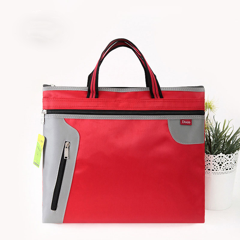 Canvas Waterproof Business Document Bag A4 Tote file folder Filing Bag Meeting Bag Side Zipper Pocket office bags for documents