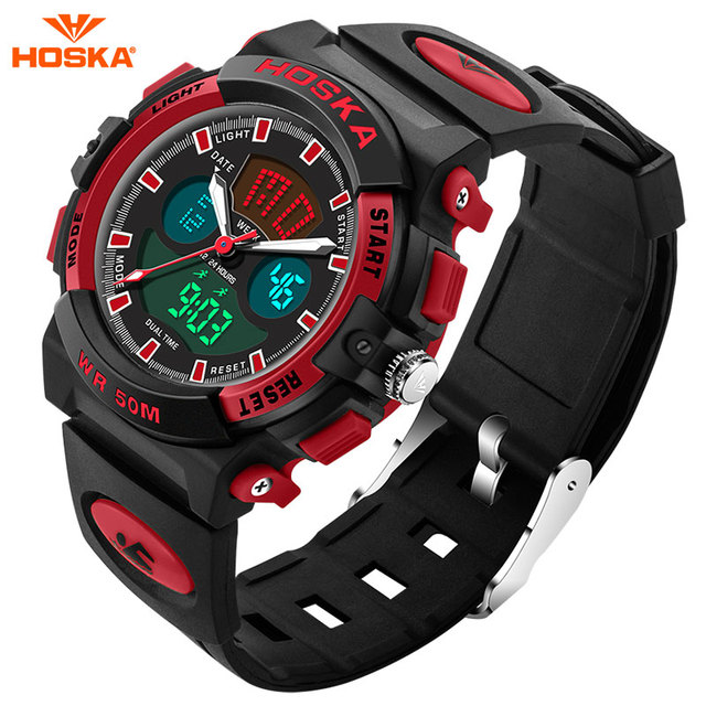 2017 New HOSKA Clock Girls Digital LED Watch Silicone Sports watch Date Multifunction Kids Watches Calculator Wrist Watch HD005