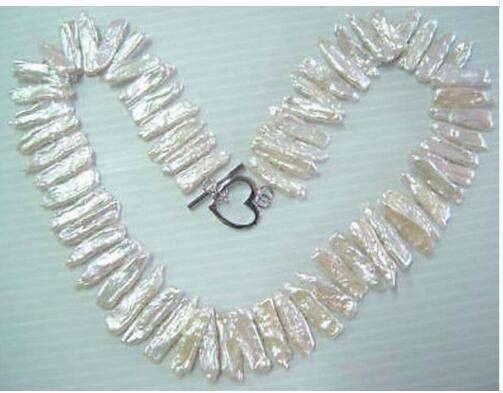 Collier de perles biwa blanches de culture 17 pouces> breloque en perles