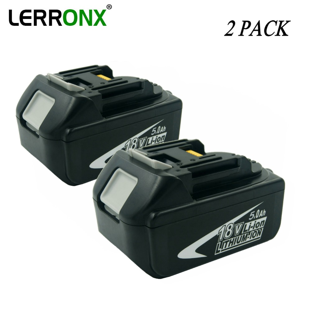 2pcs/lot BL1850 Rechargeable battery 18V 5000mAh Lithium replace for Makita Cordless Power Tools BL1830 BL1840 194204 5 194205 3-in Replacement Batteries from Consumer Electronics