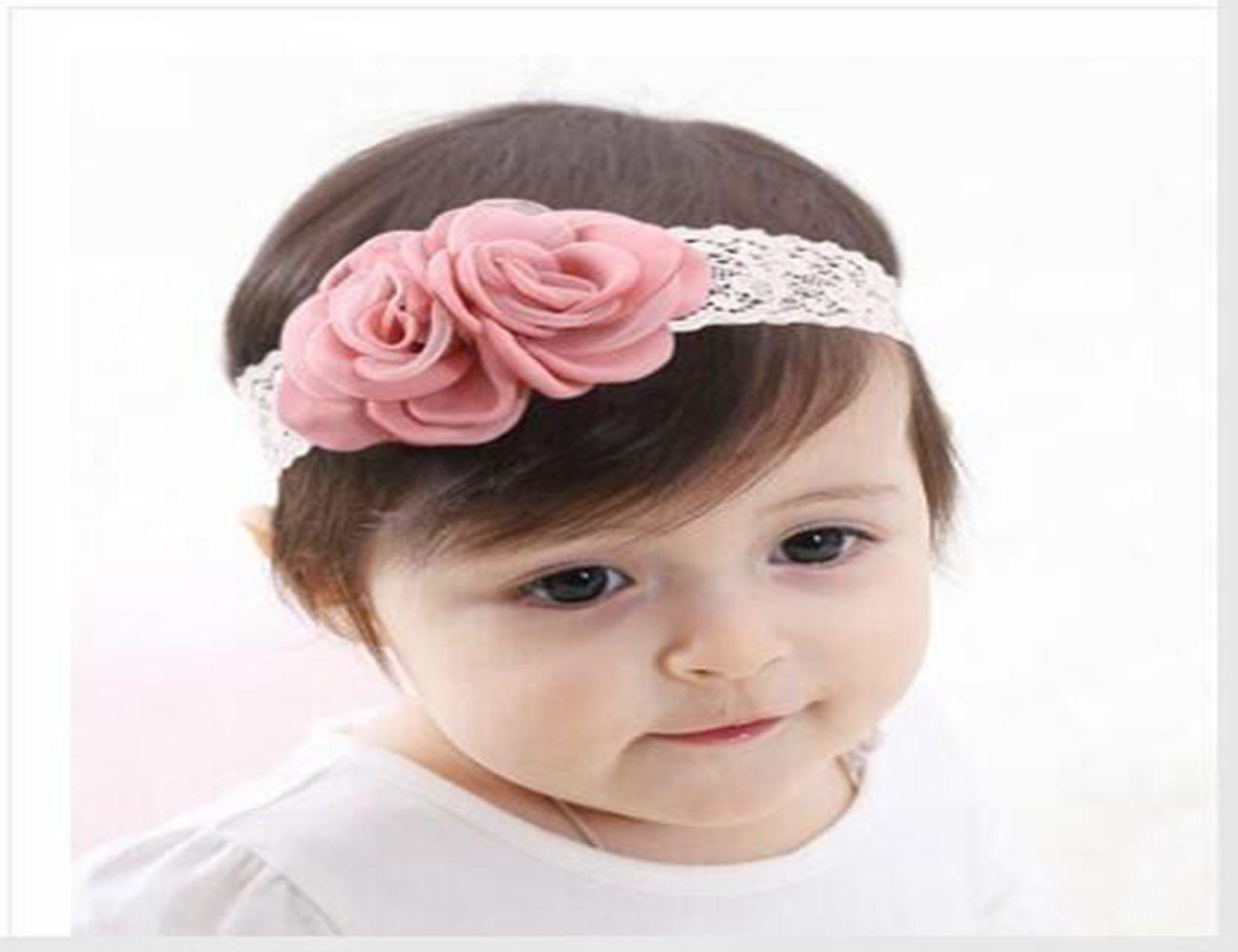 terbaru eropa anak elastis rambut bando dibakar bunga lace gadis populer lucu headband china