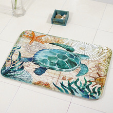 Marine Style Door Mat Floor Carpet for Living Room Sea Turtle Seahorse Pattern Coral Fleece Rug Anti-Slip Doormat Home Decor