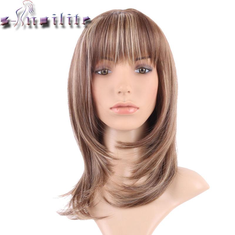 Perruque synthétique lisse avec frange bicolore-s-noilite | Moumoutes mixtes longues marron pour femmes africaines et américaines au teint noir