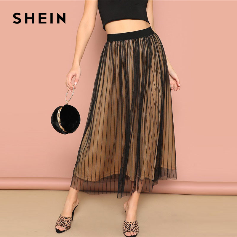 SHEIN Black Elastic Waist Striped Mesh Overlay Mid Waist Solid Maxi Skirt Lady Spring Casual A-Line Sheer Pleated Midi Skirt