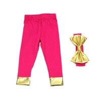Fashion Cotton Baby Girl Leggings With Bow Headband All Match Infant Baby Pants Pink Fushia