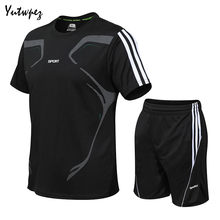 Fashion Men Sets Quick Drying Summer Mens Fitness Suit Short-Sleeve Shorts Tracksuit Male O-Neck Striped Sportswear Two-piece(China)