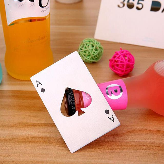 1p Tarjeta de póker abridor de botellas de cerveza acero boda fiesta banquete regalo Souvenirs cocina comedor Bar herramientas Decoración de mesa favores