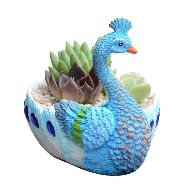 Resin Peacock Meat Pot Decor Flower Vase Home Decoration Crafts Water Plant Pot Desktop Art