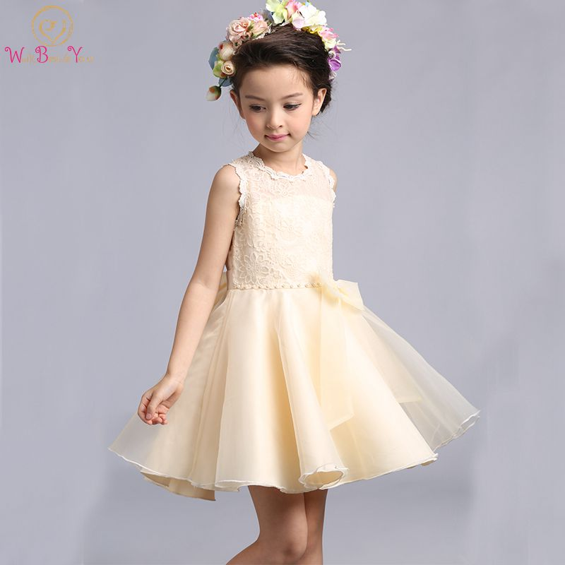 Walk Beside You Champagne Flower Girl Dresses Ball Gown Organza Lace ...