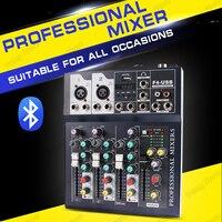 JIY F4 Bluetooth 4 Channel Digital Microphone DJ Mixer Console Phantom Professional Karaoke stage Audio Mixer Amplifier With USB