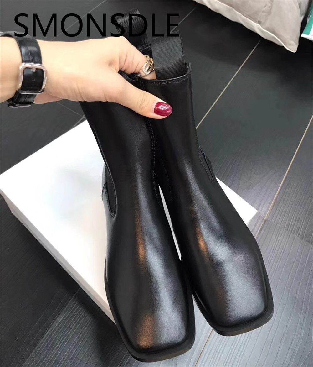 SMONSDLE New Black Genuine Leather Slip On Chunky Heel Casual Women Ankle Boots Square Toe Women Winter Short Boots Shoes Woman недорого