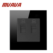 Mvava fashion black Crystal Glass Panel double PC socket, 2 Gangs Computer Socket / Wall Outlet /Plug Socket Manufacture livolo manufacture grey glass panel 2 gangs wall computer and tv socket outlet vl c791vc 15 without plug adapter