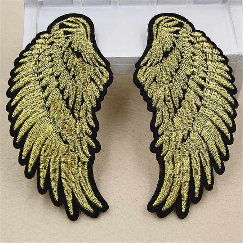 Clothing diy embroidery iron on patch deal with it 94mm wings biker patches for clothes flower stickers fabric free shipping