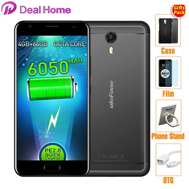"""In stock!Ulefone Power 2 Mobile Phone 4G 6050mAh Fingerprint 5.5"""" FHD Android 7.0 Octa Core MT6750T 4GB+64GB 13MP"""