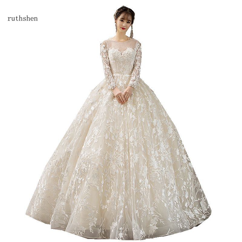 ruthshen Real Lace Wedding Dresses With Long Sleeves Illusion Ball Gown 2018 New Arrival Wedding Gowns Vestido De Noiva Hot Sale-in Wedding Dresses from Weddings & Events    1