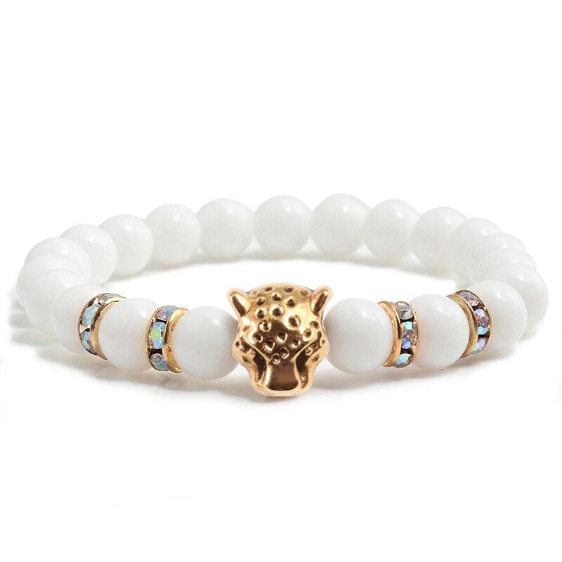 8 Mm Weißen Porzellan Stein Perlen Gold Strass Kreis Armband Vintage Alloy Leopardenkopf Bead Buddha Armbänder Pulseras Mujer