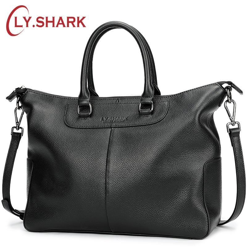 LY.SHARK Genuine Leather Bag Women Shoulder Bag For Women 2018 Big Handbag Women Famous Brand Lady Hand Bags Messenger bag Black