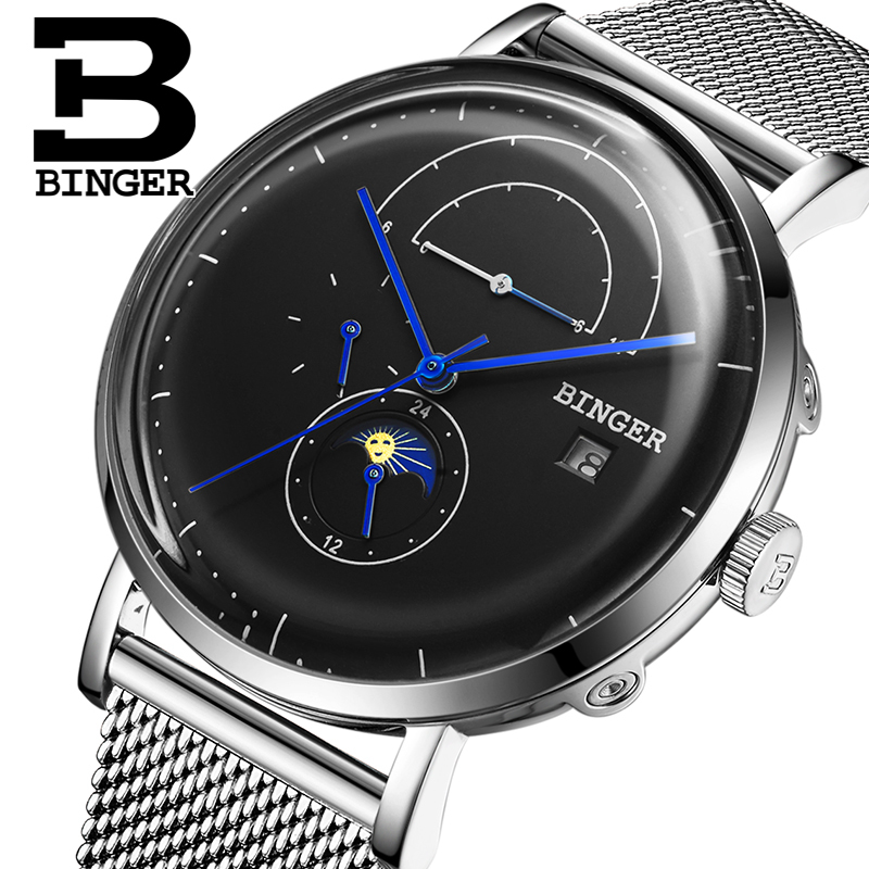 Switzerland BINGER Men Watch Luxury Brand Automatic Mechanical Mens Watches Sapphire Male Japan Movement reloj hombre B8610-5 switzerland binger watch men 2017 luxury brand automatic mechanical men s watches sapphire wristwatch male reloj hombre b1176g 6