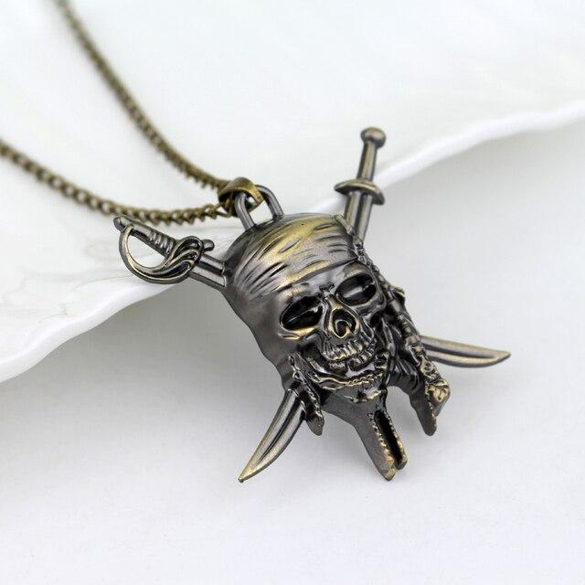 Movie Pirates of the Caribbean Necklace Aztec coin Vintage Gold Captain Jack Sparrow Medallion Skull Pendant Necklaces For Men