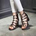 Altos talones de las Nuevas Mujeres de moda de Verano Zapatos Sandalias de Gladiador Hollow Sandalias Grandes Patios Con Los Zapatos de Punta abierta 2017 Nuevo mujeres