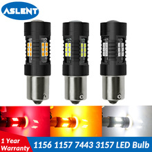 ASLENT 1PCS 1156 BA15S P21W LED 1157 BAY15D P21/5W Bulb 7443 W21/5W 3157 R5W 3030 21 SMD Auto Lamp Bulbs Car Light 12V