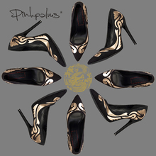 Pink Palms heel pumps ethnic totem pointed toe