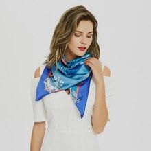 Luxury Kerchief Silk Hair Scarf For Women Square Shawls Printed Hijab Scarfs Female 90*90cm Head Scarves For Neck 2019 Designer