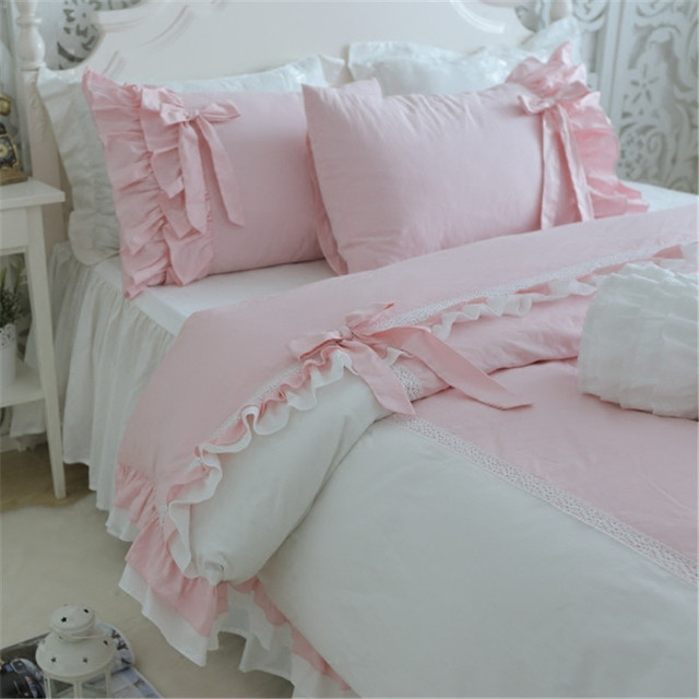 Sweet Young Lady Bedding Set Elegant Bow Ruffle Lace Duvet Cover Wedding Decorative  Bedding Princess Bed