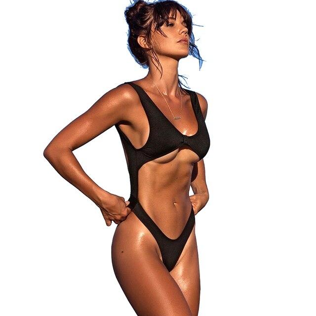 5eea2a27d6d0a Black Sexy high cut one piece swimsuit cross back swim suit for women  Swimwear Thong Monokini Trikini 2018 female Bathing suit