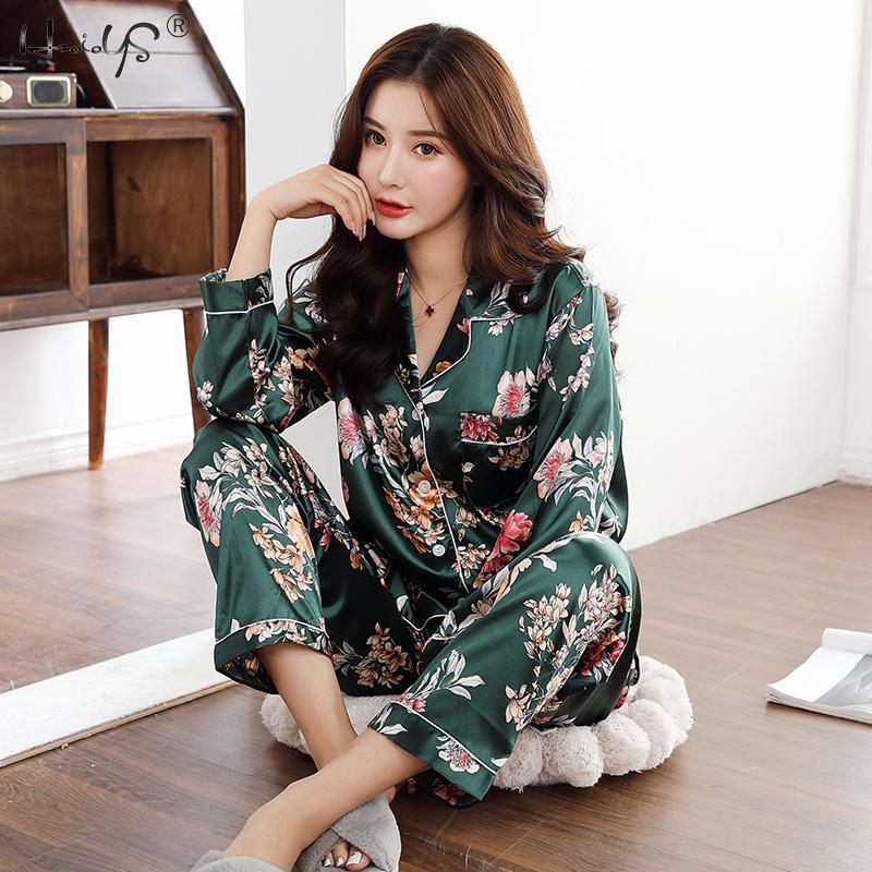 Autumn Winter Print Pattern Women Pajama Set Satin Silk Turn-down Collar Pajamas Sleepwear Long Sleeve Trousers Two Paper Suit