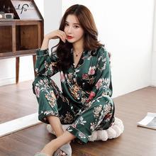 Autumn Winter Print Pattern Women Pajama Set Satin Silk Turn
