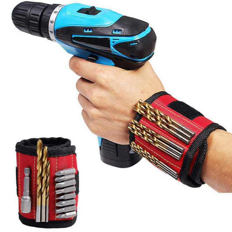 Strong Magnet Wristband Tool Adjustable Tool Wrist Bands for Screws Nails Nuts Bolts Hand free Drill Bit Holder