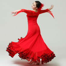 red big hemlines modern dance set flamenco black ballroom set top skirt Tango skirt waltz stage performance competition costumes