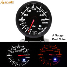 60mm Turbo Boost Gauge 3 Bar 12V Car White Amber Dual Color LED Light Meter Auto Racing Gauges + Sensor Peak Warning 2.5 inch