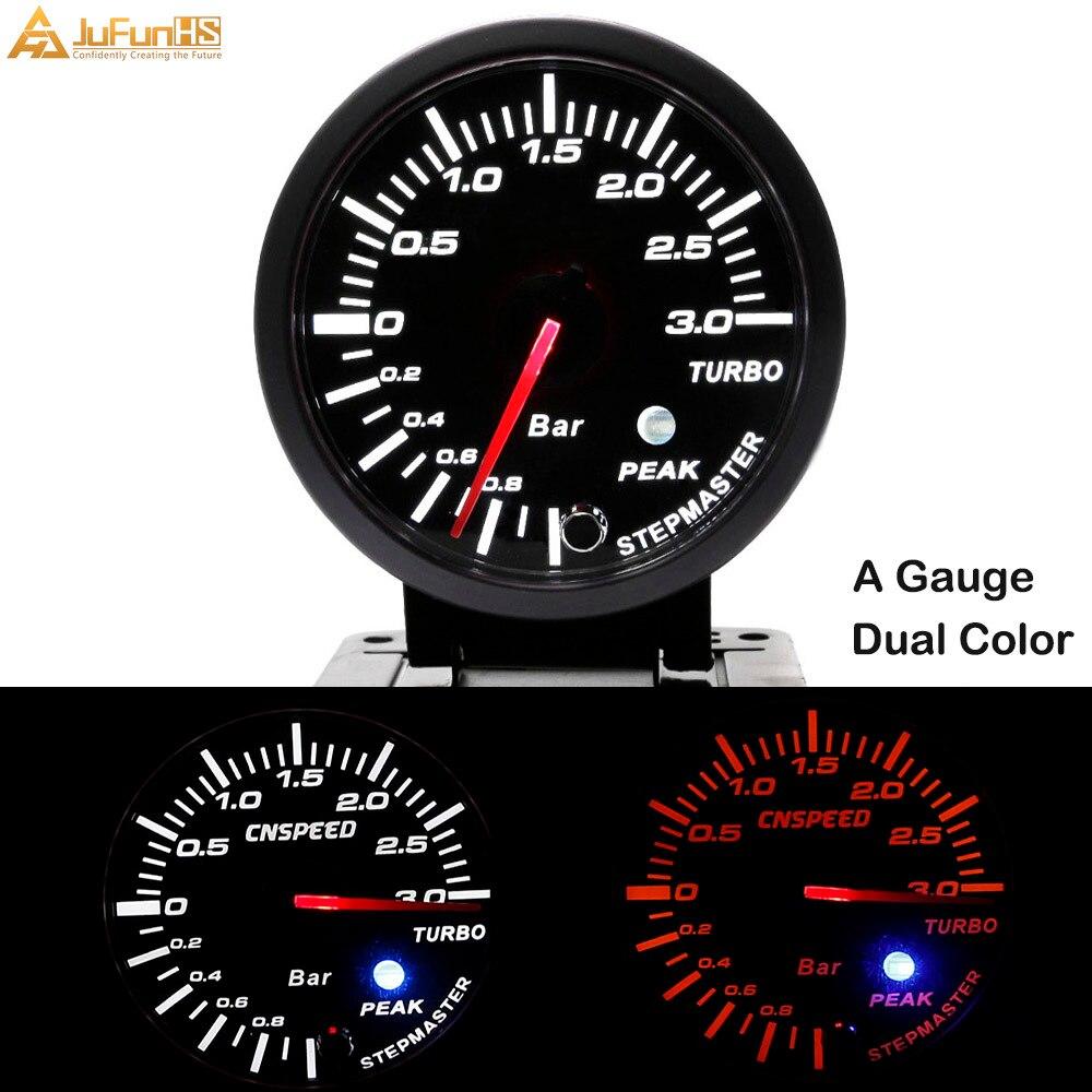 60mm Turbo Boost Gauge 3 Bar 12V Car White Amber Dual Color LED Light Meter Auto Racing Gauges + Sensor + Peak Warning 2.5 inch