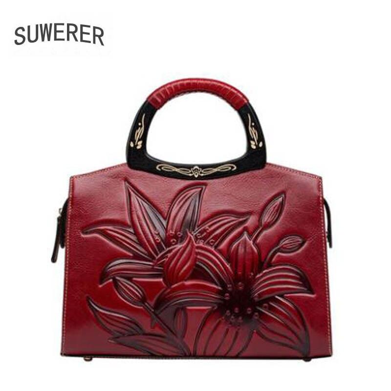 SUWERER 2018 Nouvelles Femmes Véritable sacs En Cuir À La Main gaufrage qualité de luxe sac à bandoulière en cuir designer femmes célèbres marques